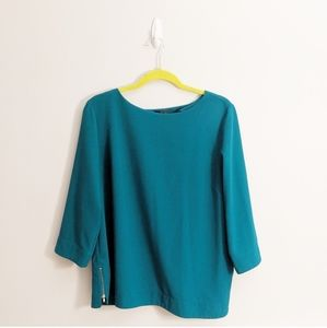 The Limited Turquoise Boxy Side Zip Workwear Top